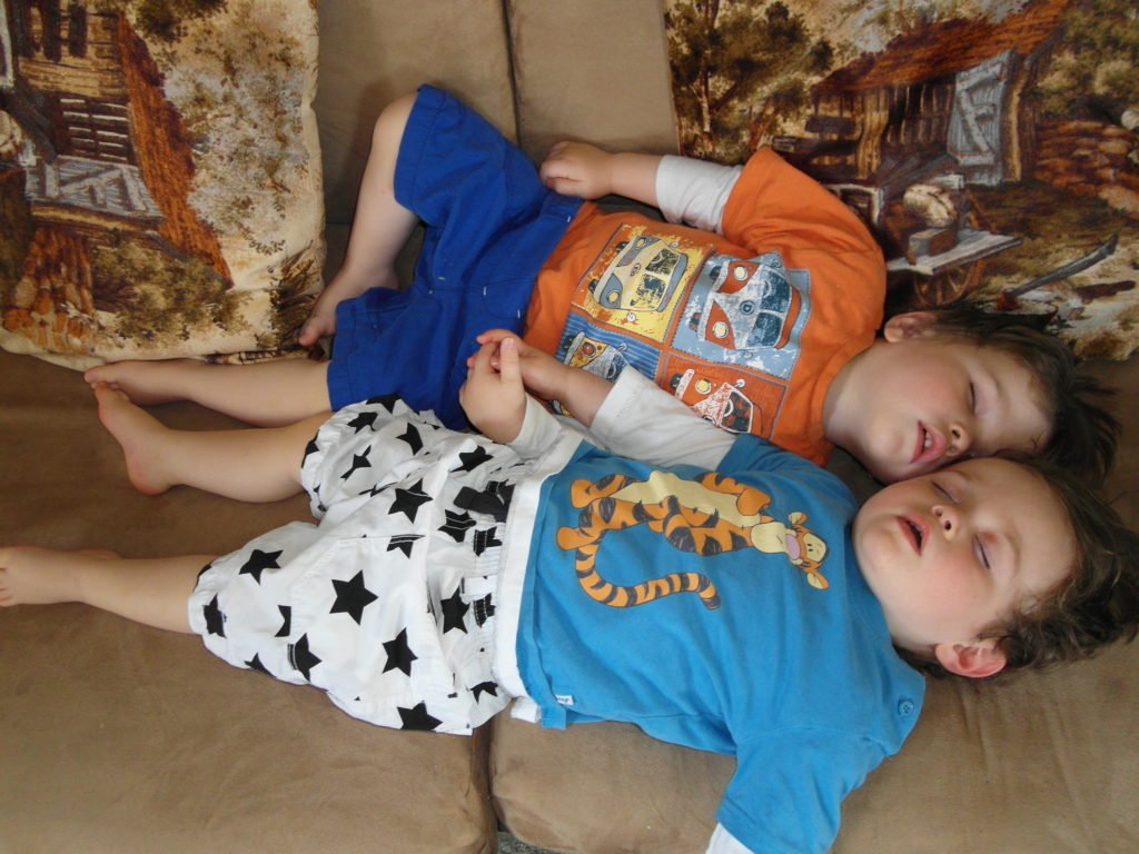 Toddler time - toddler twins asleep together