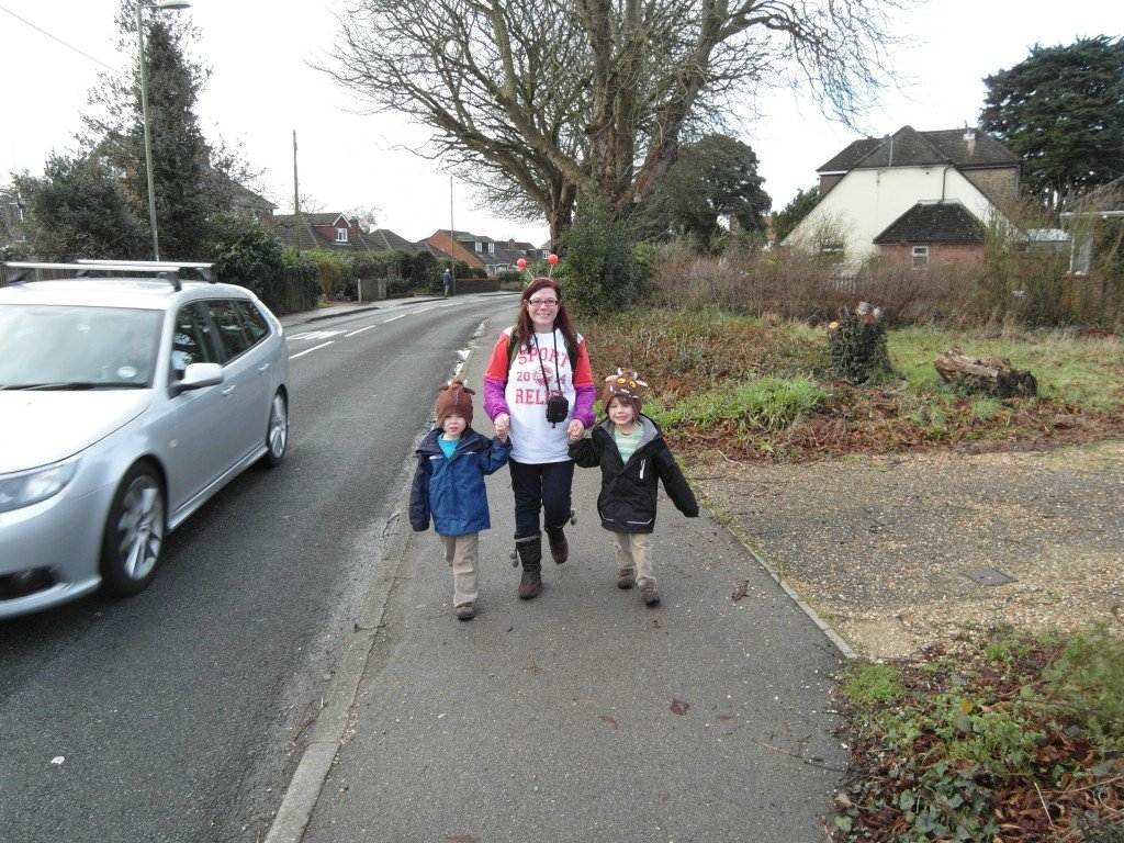 A mum and twins doing a Sport Relief walk