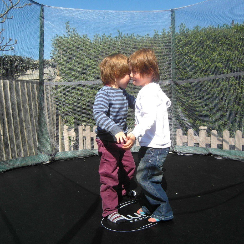 Twin boys on a trampoline