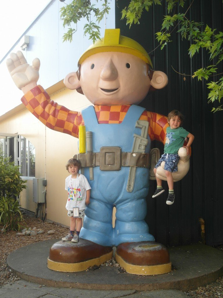 Two boys with a giant Bob the Builder at Butlins
