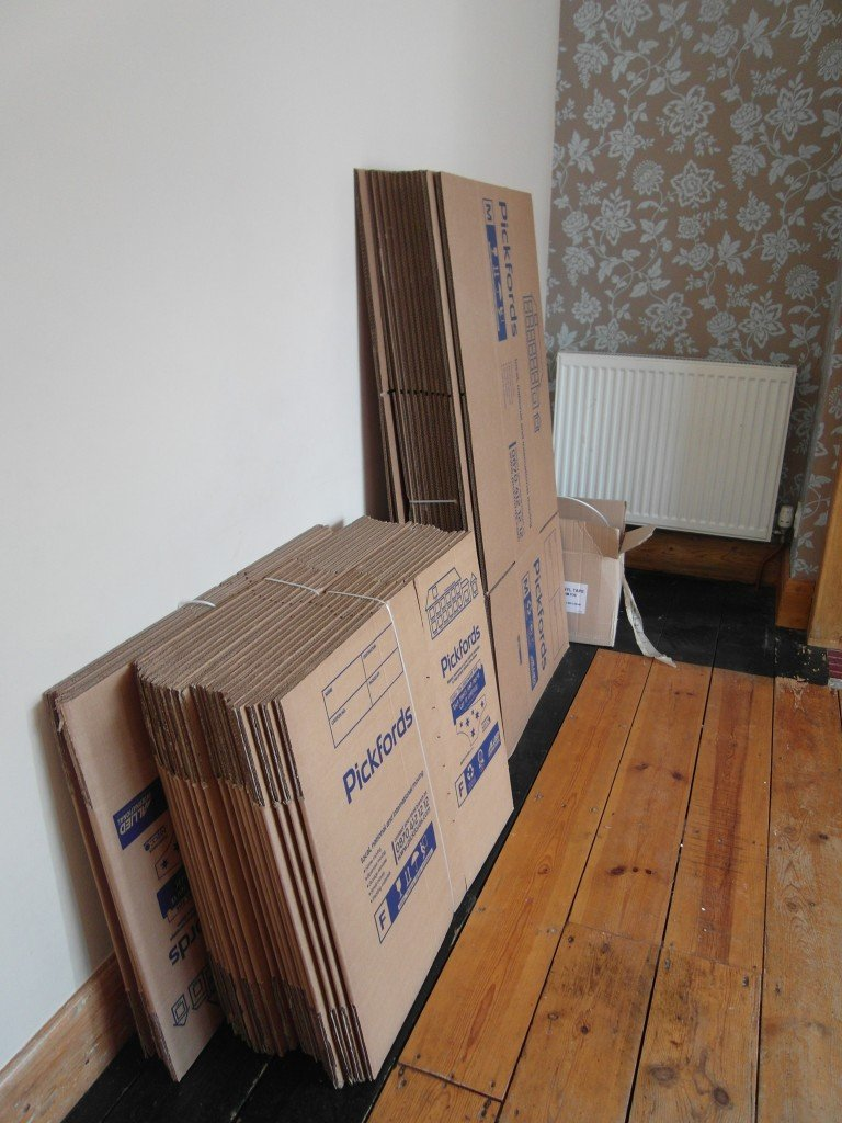 Flatpacked boxes ready for packing