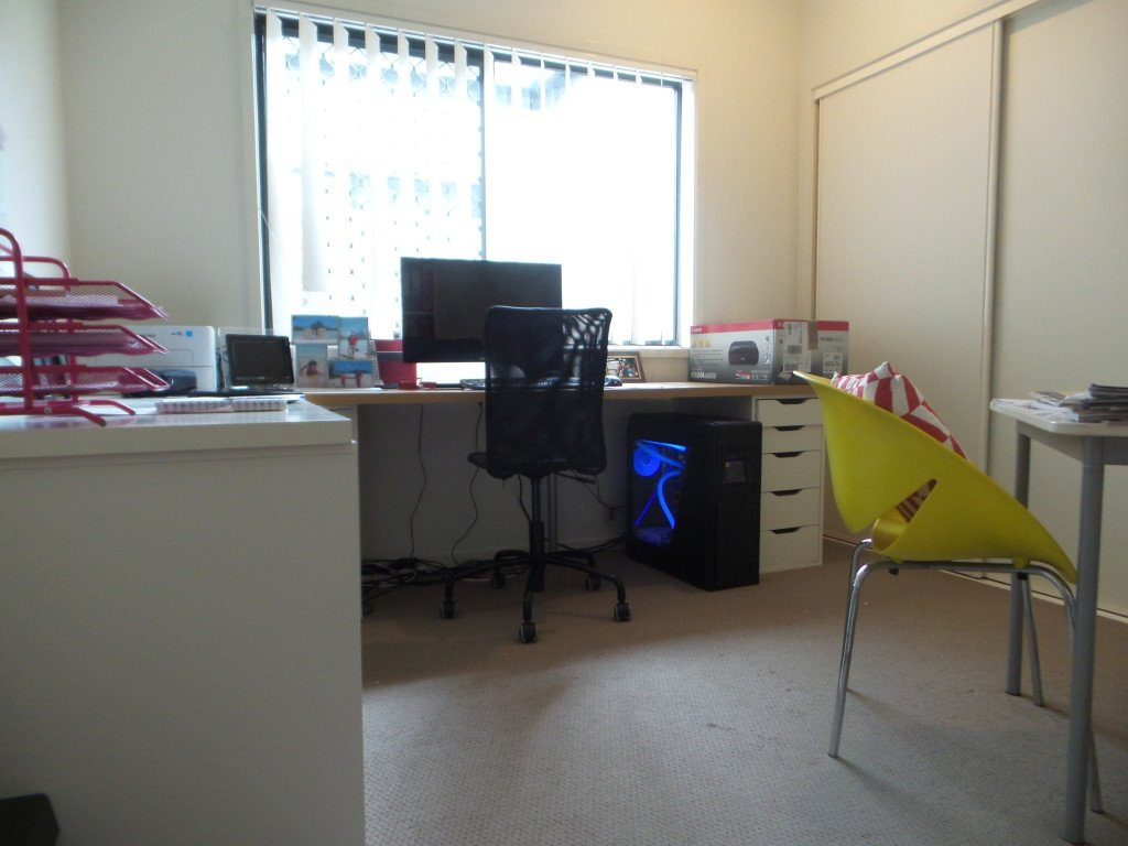 View of an office desk and chair