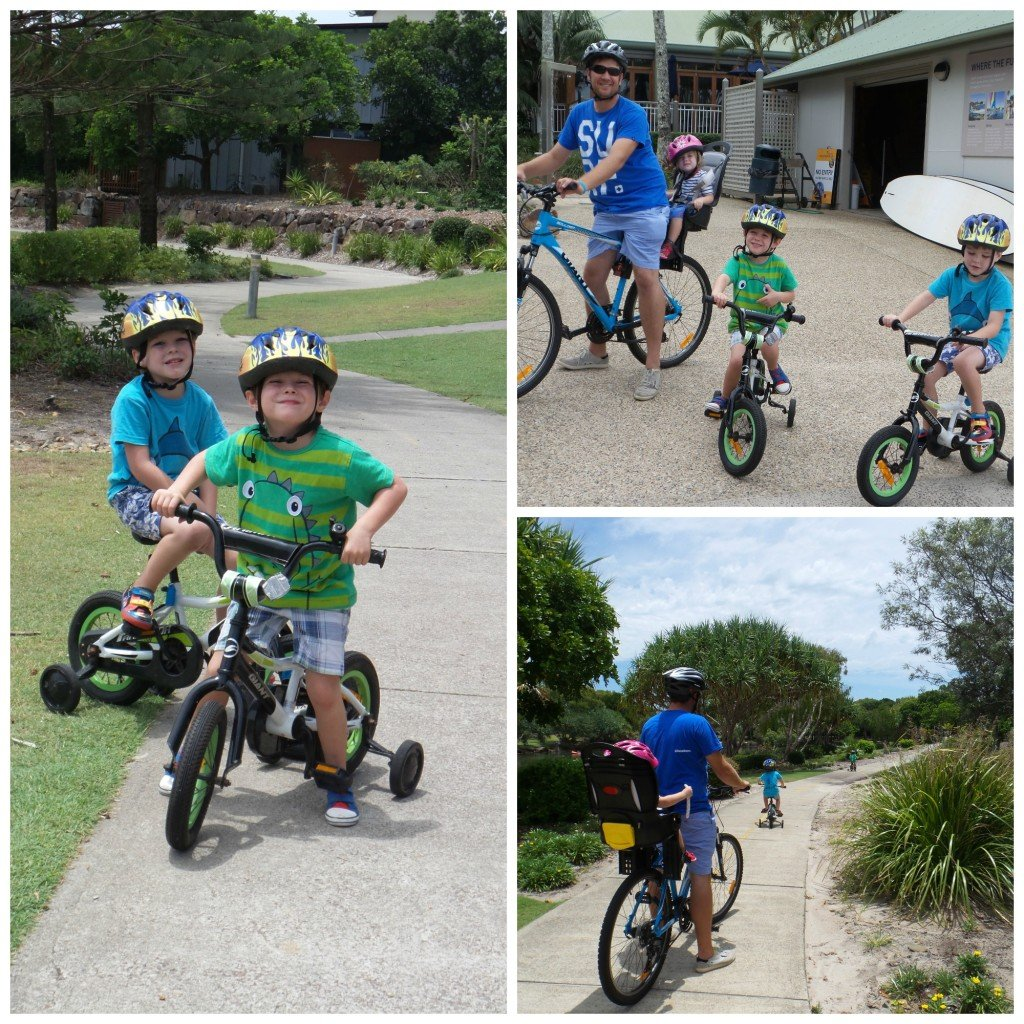 A family on bikes at Novotel Twin Waters Resort