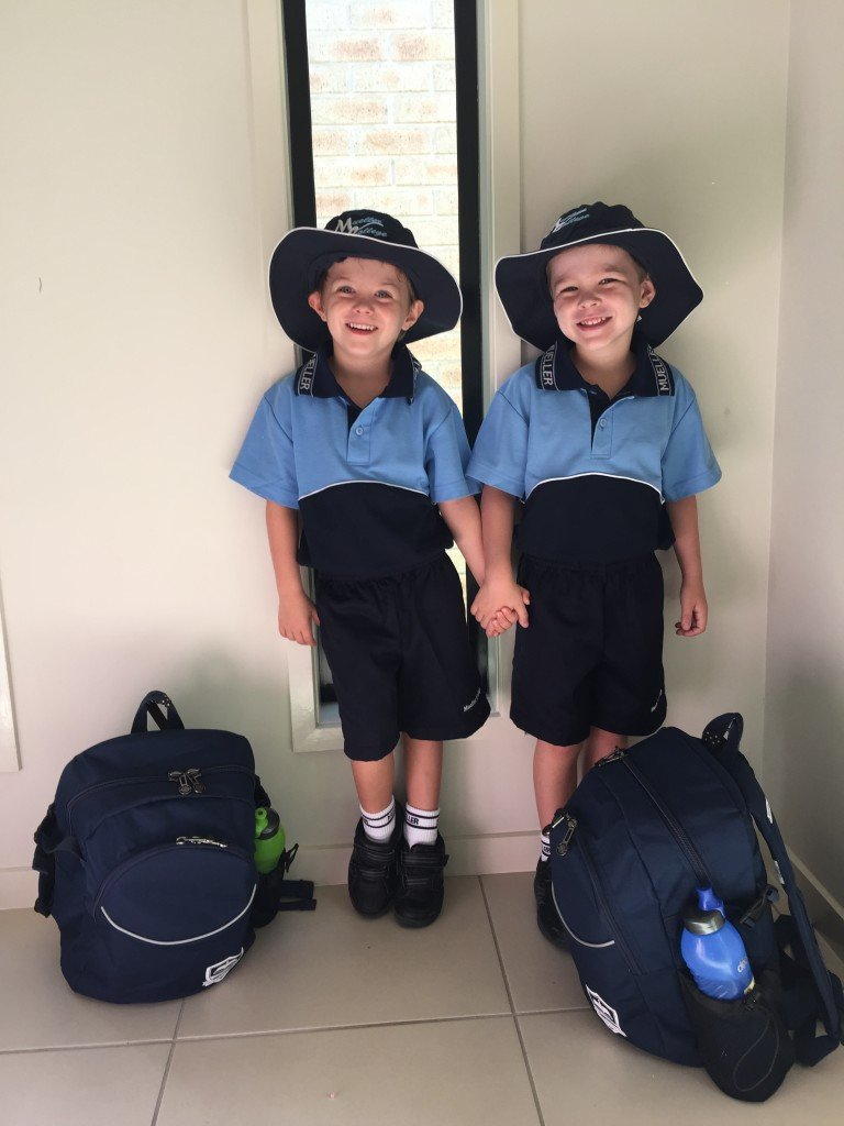 Twin boys in school uniform start prep