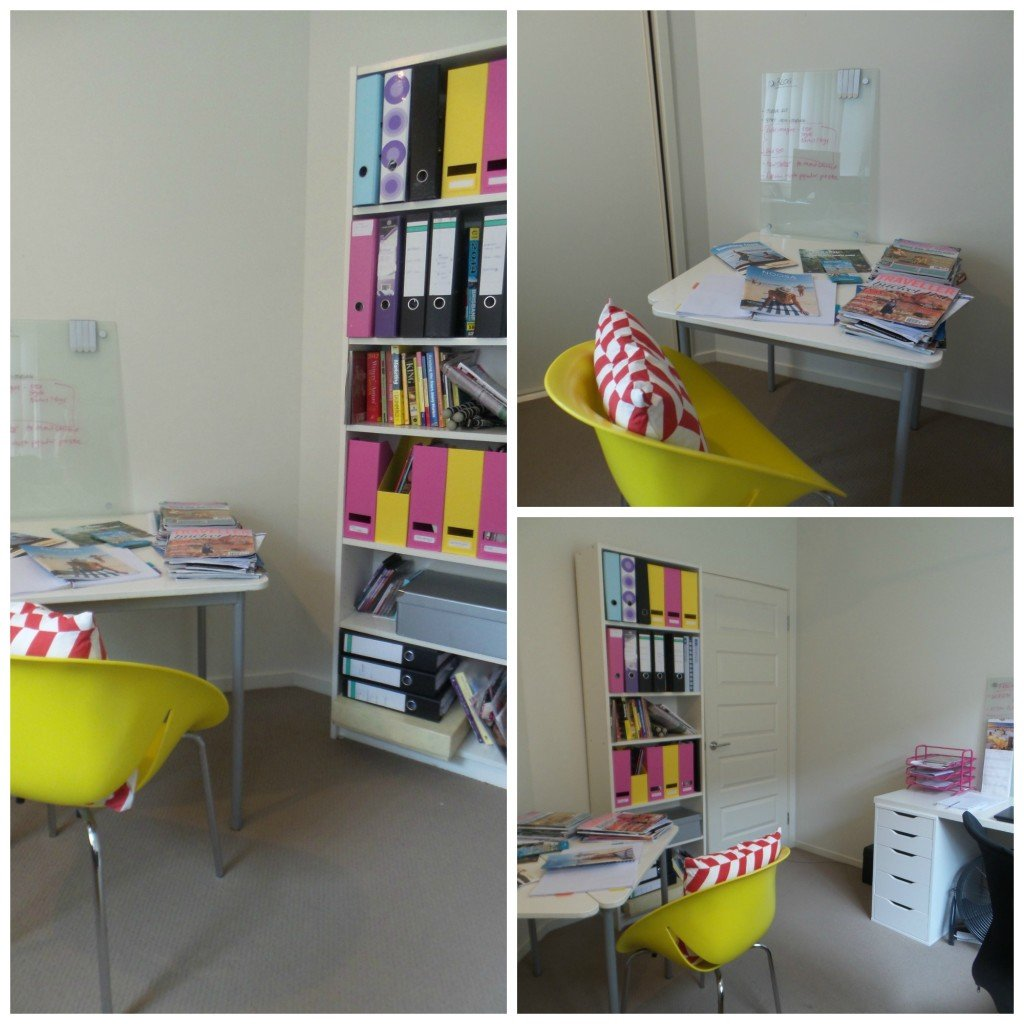 Collage of images of an office