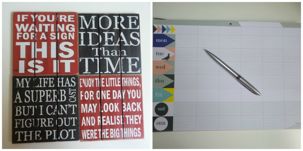 Collage picture of coasters with quotes on and a weekly planner