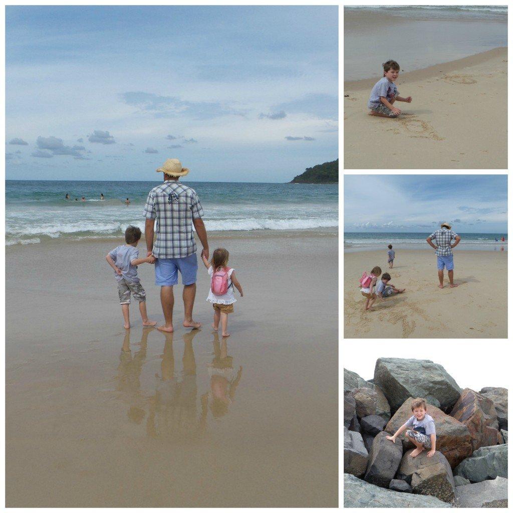 A family on Noosa's Main Beach