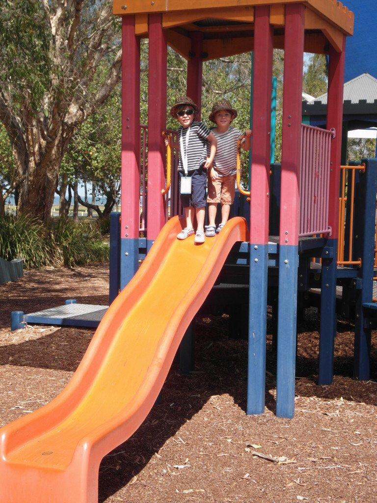 Twins on a slide