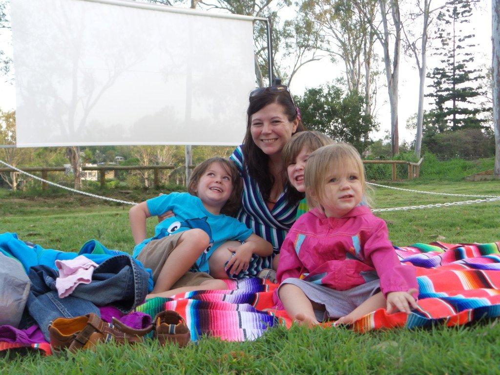 A family at the Lone Pine Koala Sanctuary movie night