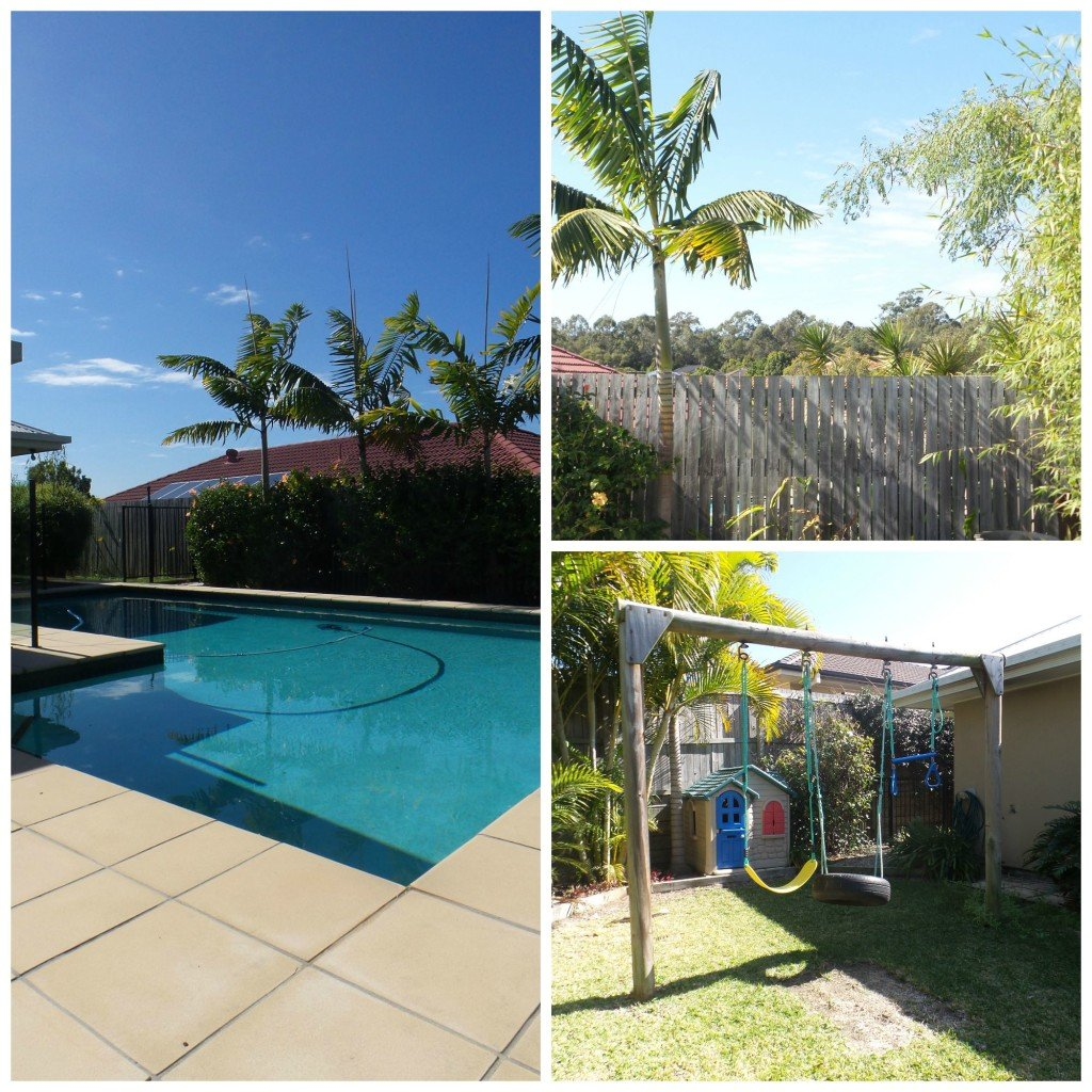 Collate of a year in Australia - shots of pool and garden