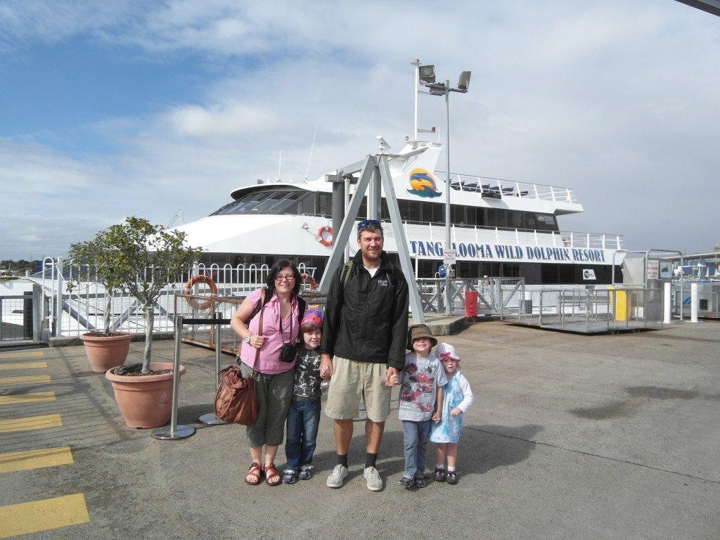 A family at the Tangalooma Island Resort catamaran