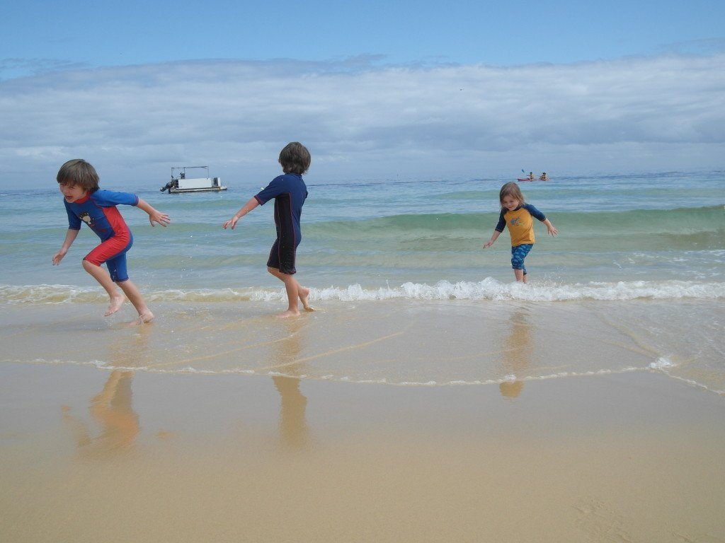 Kids in the sea at Tangalooma Island Resort