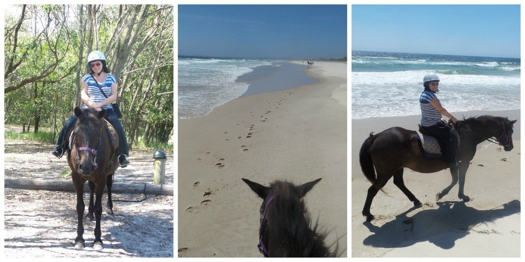 Collage of pics of beach horse ride with Seahorses of Byron Bay