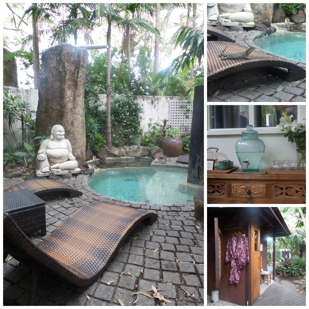 Collage of shots of Buddah Gardens Day Spa at Byron Bay