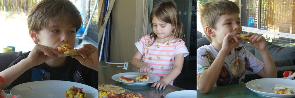 Kids enjoying their bbq pizza