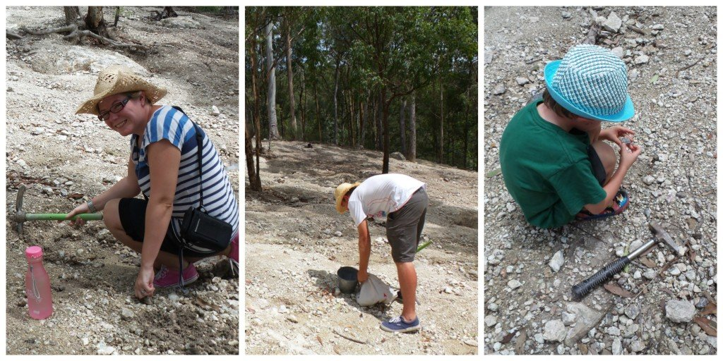 A collage of people thunderegg fossicking at Thunderbird Park, Tamborine Mountain