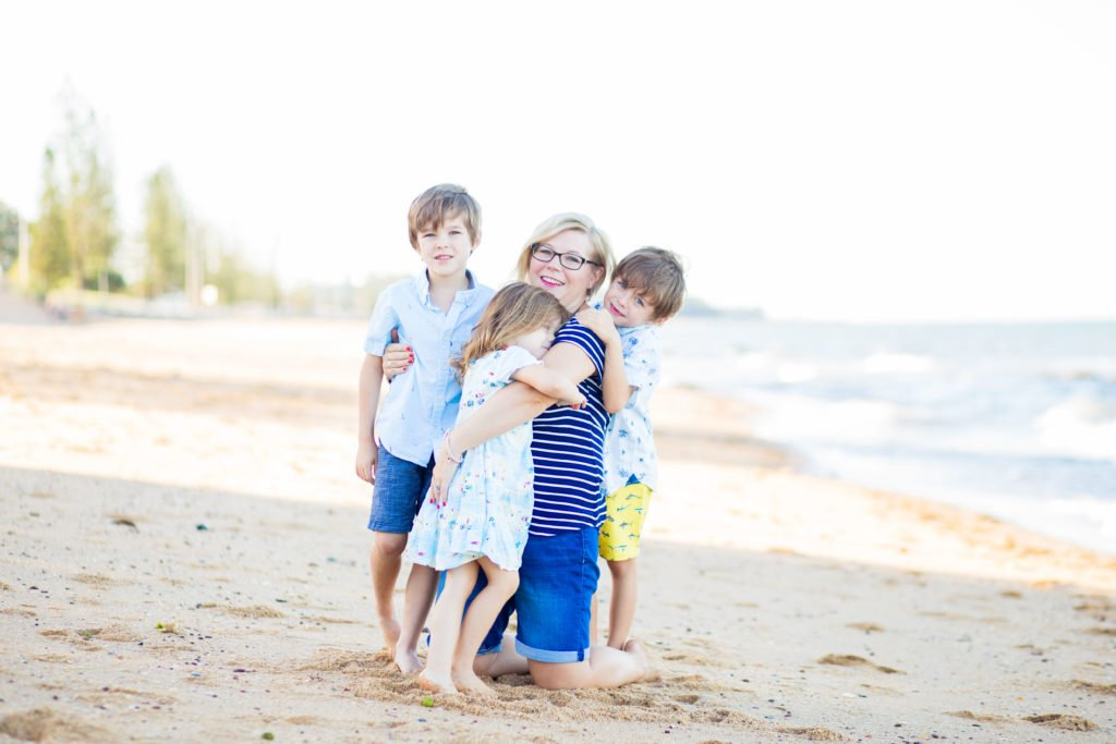 Family picture at the beach - Karen Bleakley, Founder of Smart Steps to Australia