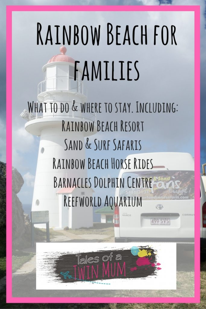 Pinterest image Rainbow Beach for families