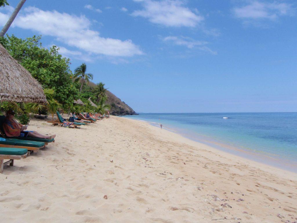 The beach at Octopus Resort, Fiji